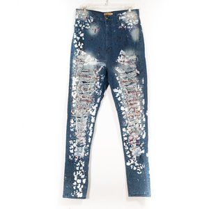 Aphrodite Painted Destroyed Distressed Jeans 2X
